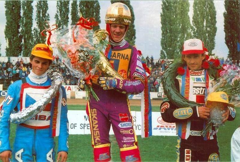 Tomáš Topinka, Tony Rickardsson a Hans Nielsen na stupních vítězů