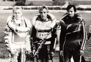 Finále MR jednotlivců v Březolupech v září 1991 - zleva Bohumil Brhel, Václav Milík a Lubomír Jedek