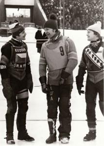 Zdeněk Kudrna, Milan Špinka a JIří Svoboda na nástupu v Kalininu 1982, odkud si odvezou stříbrné medaile