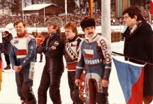 Semifinále v Inzellu 1984: zleva Milan Špinka, Jan Verner, Jiří Svoboda a Stanislav Dyk