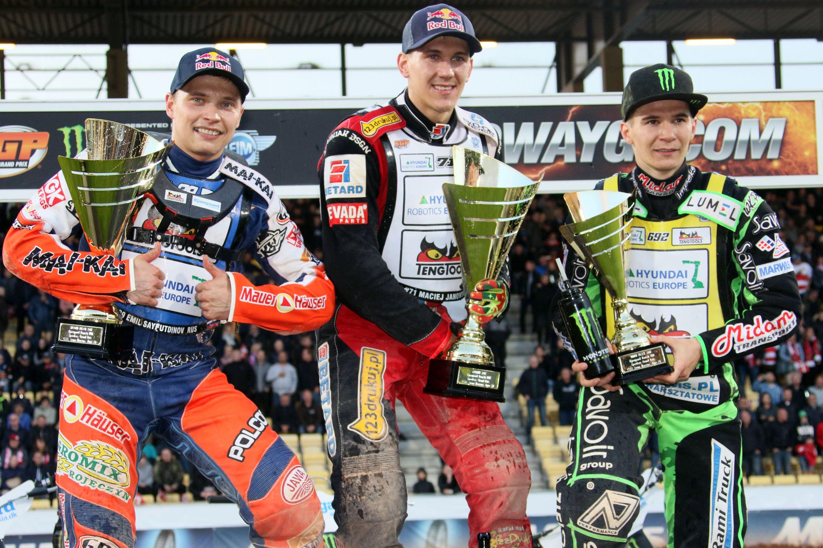 Emil Sajfutdinov, Maciej Janowski a Patryk Dudek na pódiu