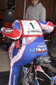 Patrik Mikel při tréninku startu
