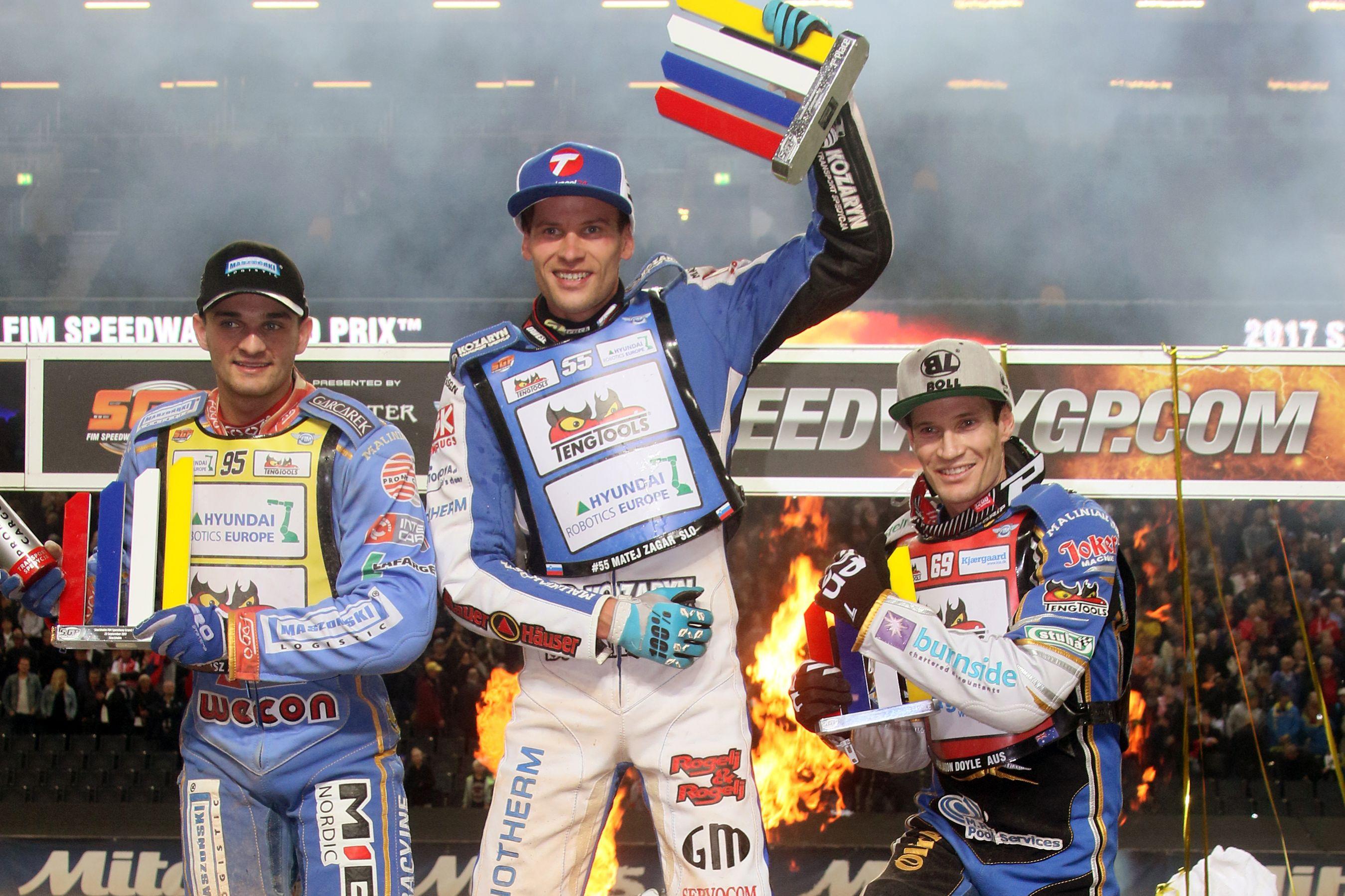 Bartosz Zmarzlik, Matej Žagar a Jason Doyle na stupních vítězů